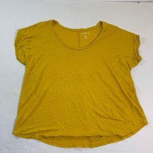 Ann Taylor LOFT Yellow Top Blouse Linen Plus 20/22